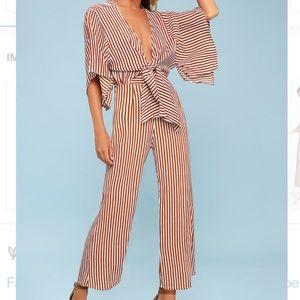 Faithfull the Brand Tilos rust striped jumpsuit